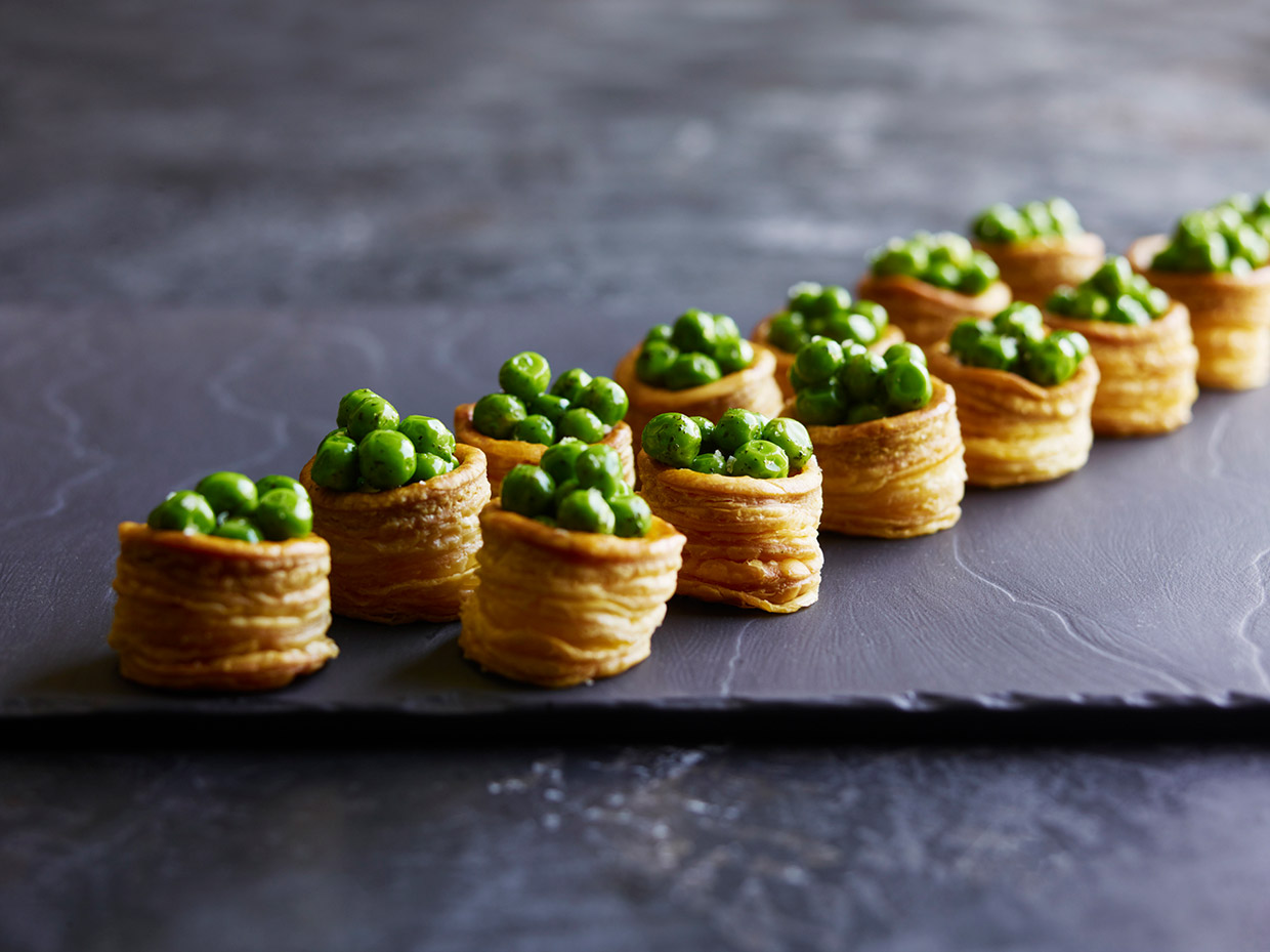 Pea, feta and onion jam vol au vents prepared by Pearl Catering