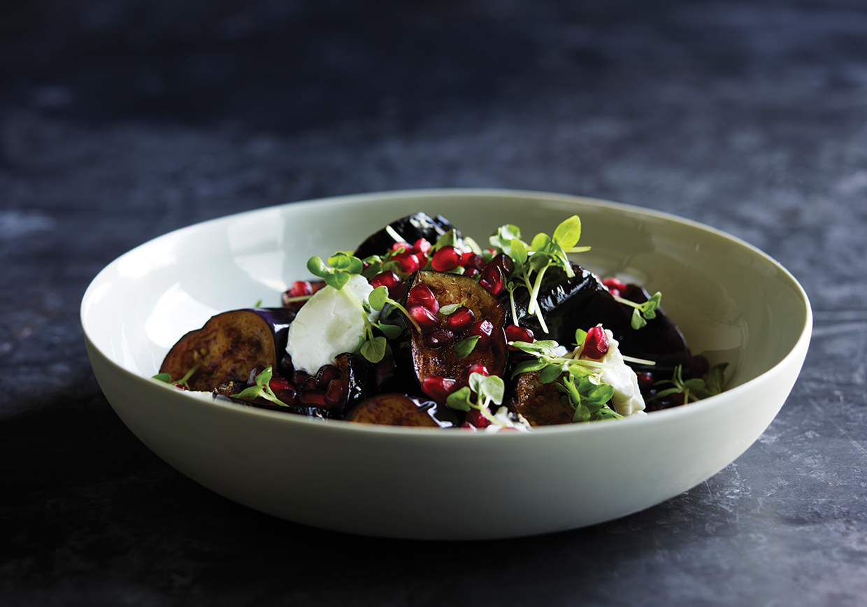 Eggplant, pomegranate, date syrup, yoghurt prepared by Pearl Catering